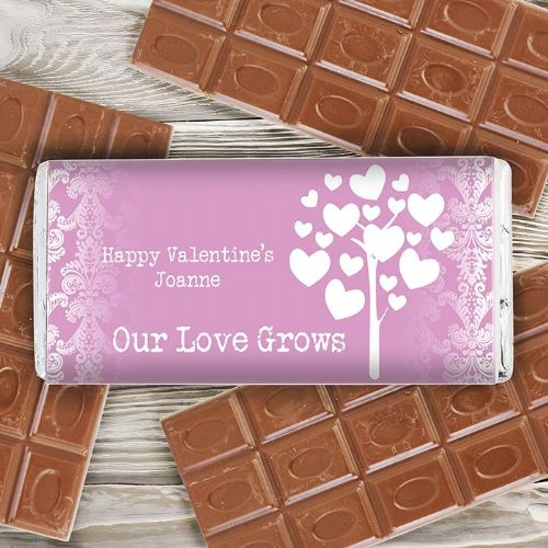 Personalised Love Grows Pink Chocolate Bar